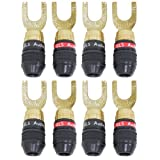 "GLS Audio Safe-Connect ""Generation 4"" Gold Connector Spade Plugs - 8 Pack (4 Reds & 4 Blacks)"