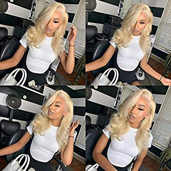 Image of Aopusi 613 Blonde Lace Front Wig Body Wave Human Hair Lace Front Wigs Brazilian Remy Hair Wigs with Natural Hairline Pre Plucked 150% Density Glueless Lace Frontal Wig for Black Women (14 Inch,#613)