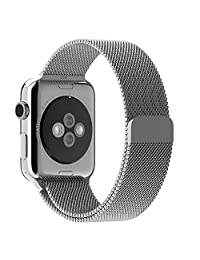 Apple Watch Band Padgene Milanese Loop Stainless Steel Strap Bracelet for Apple iWatch Sport & Edition 42mm All Models with Unique Magnet Lock No Buckle Needed (silver)