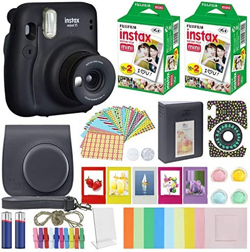 Fujifilm Instax Mini 11 - Instant Camera + MiniMate Accessory Bundle & Compatible Carrying Case + Fuji Instax Film Value Pack (40 Sheets) Accessories Bundle (Charcoal Gray, Standard Packaging)