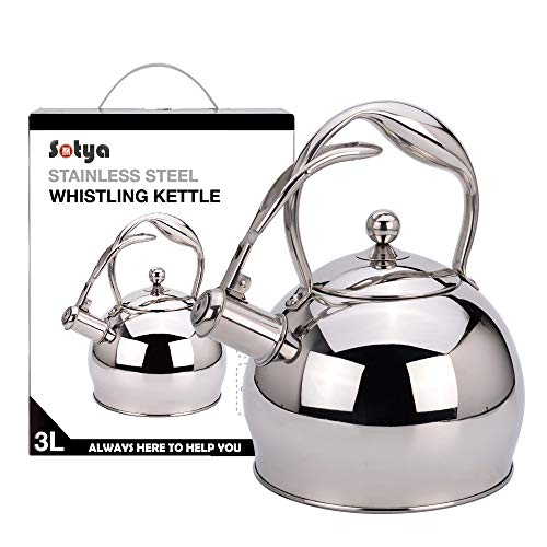 Tea Kettle Best 3 Quart induction Modern Stainless Steel Surgical Whistling Teapot -Tea Pot For Stove Top 3L, Silver