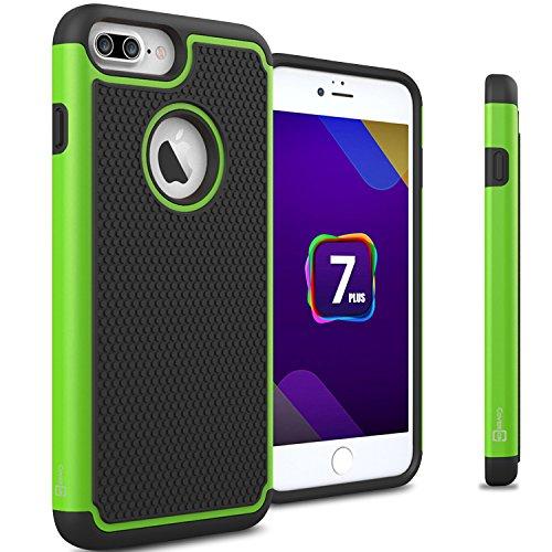 iPhone 7 Plus Protective Case, CoverON® [HexaGuard Series] Slim Hybrid (Neon Green Hard Case)