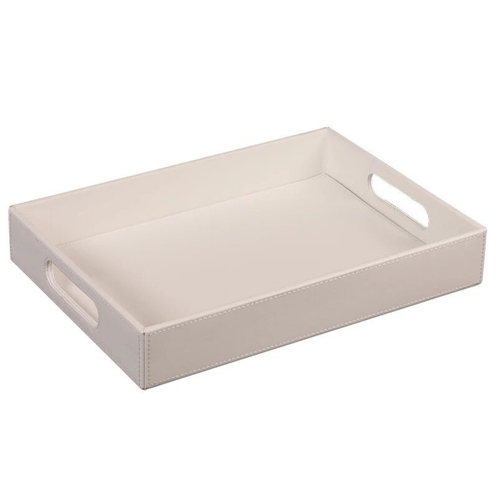 UnionBasic PU Leather Serving Tray with Handle (Small, White)