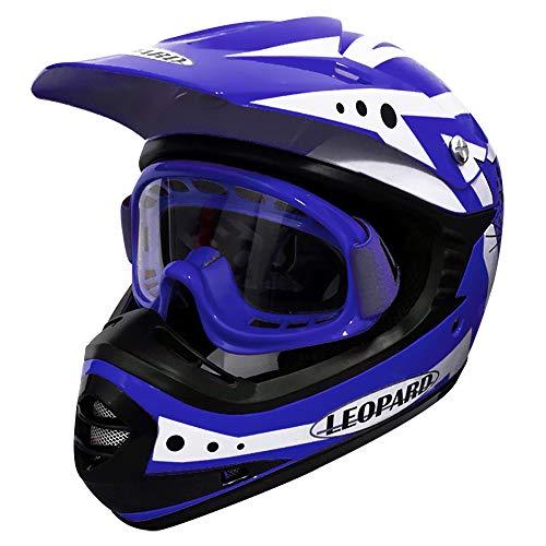 Leopard LEO-X17 Blau Kinder Motorrad Helm L(53-54cm) + Zorax Kinder Brille Kinder Motorradhelm Full Face MX Helmet…