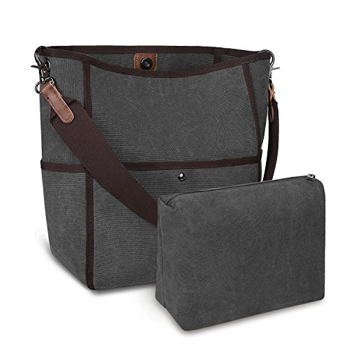Canvas Bucket Bag - S-ZONE Women's Canvas Shoulder Bag Casual Handbag Tote Satchel Bucket Bag (Grey)