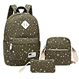 Aiduy 3 Pack School Backpack Cute Bookbags Canvas Laptop Bag for Student (Navy)