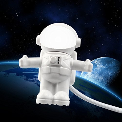 Hunulu Mini USB Flexible Spaceman Astronaut Night LED Light Bulb for Laptop PC Reading