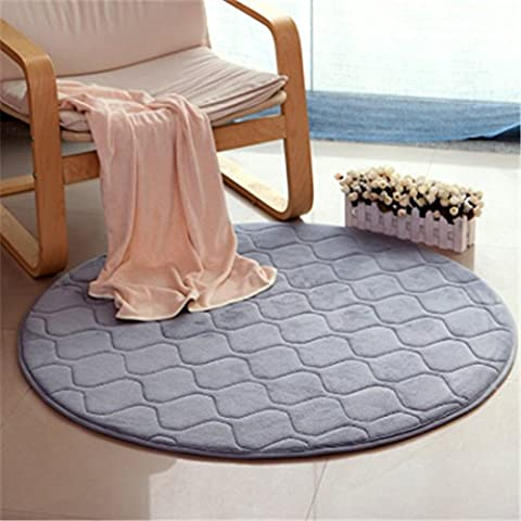 BHoming(TM) Modern Coral Velet Rugs Memory Foam Floor Carpets Mats Round Bedroom Area Rugs Yoga Chair Mat, Gray, 5.2 Feet (Gray And Pink Round Rug)
