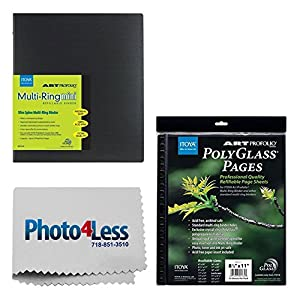 "Itoya Art Profolio Multi-Ring Mini Refillable Binder - 8.5 x 11"" (20 Sheets) + Itoya Art Portfolio Polyglass Refill Pages (Set of 10) 8.5"" x 11"" PR811 + Photo4Less Cleaning Cloth + Presentation Bundle"