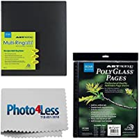 Itoya Art Profolio Multi-Ring Mini Refillable Binder - 8.5 x 11 (20 Sheets) + Itoya Art Portfolio Polyglass Refill Pages (Set of 10) 8.5 x 11 PR811 + Photo4Less Cleaning Cloth + Presentation Bundle