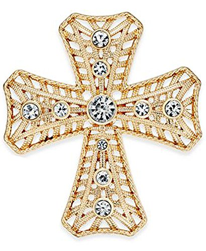 Charter Club Crystal Cross Brooch Pin Goldtone