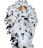 """Cynthia's Feathers 100g 74"""" Turkey Chandelle Feather Boas 30 Color & Patterns (White with Black Tips)"""