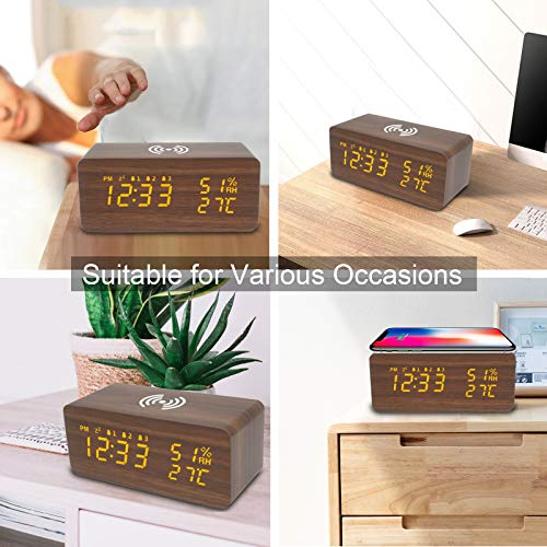 OFLILAK Wooden Digital Alarm Clock with Wireless Charging, 3 Alarms LED Display, Sound Control and Snooze Dual for Bedroom, Living Room, Desk, Office, Brown