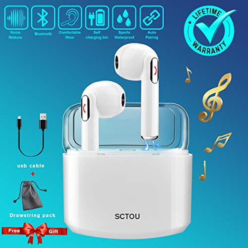 Wireless Earbuds,Bluetooth Earbuds Wireless Earphones Noise Cancelling with Mic Charging Case,Sport Running Mini True Stereo Earbuds Bluetooth Compatible iOS Android Samsung Huawei Phones X 8 7 (Best Wireless Earbuds For Iphone 6 Plus)