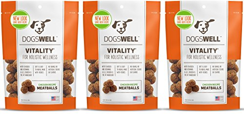 DOGSWELL VITALITY CHICKEN MEATBALLS 15 OUNCE NATURAL HEALTHY MADE IN USA (3 BAGS) -