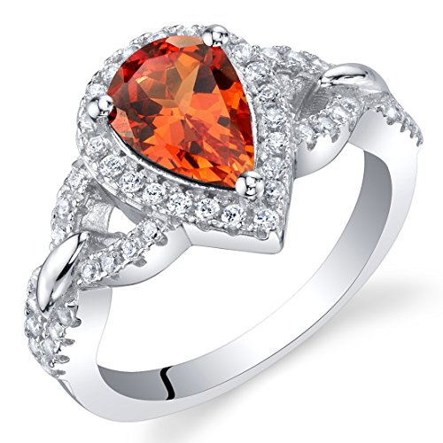 Created Padparadscha Sapphire Sterling Silver Halo Crest Ring Size 6 ()