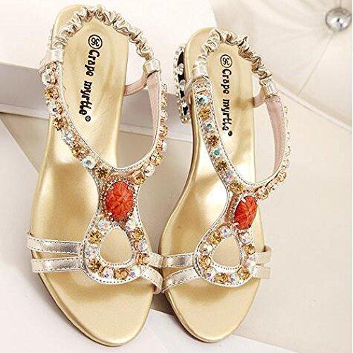 Freizeit HGDR Sandalen Party Offene Strand Strass Kleid Gold Zehe Hochzeit Abend Schuhe Schuhe Damen Bohemian Prom qfq1wYT