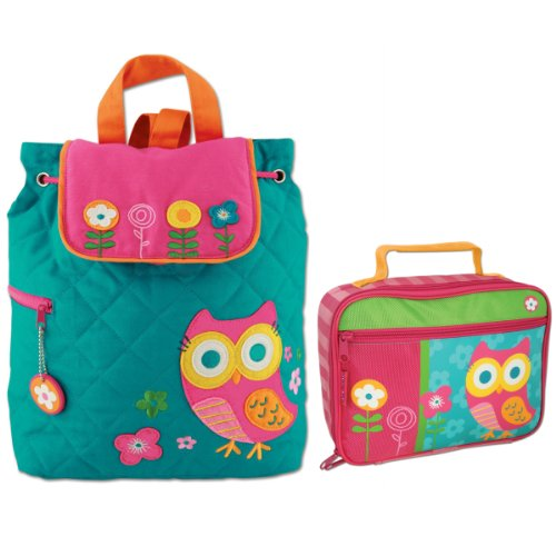 Stephen Joseph Girls Quilted Owl Backpack and Lunch Box with Coloring Activity Pad ()