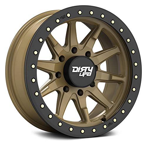 Dirty Life DT2 Custom Wheel - 9304 Series Satin Gold with Beadlock Ring Rims - 17