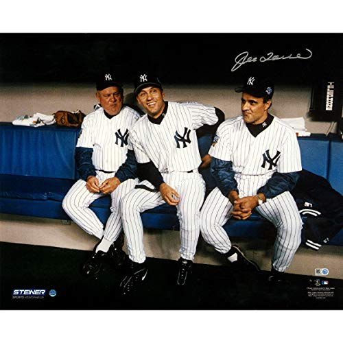 Derek Jeter Don Zimmer Joe Torre Sitting In Dugout 16x20 Photo Autographed Signed By Torre - Certified Signature ()
