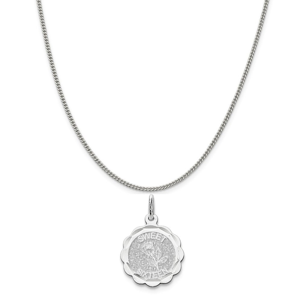 16-20 Mireval Sterling Silver Sweet Sixteen Disc Charm on a Sterling Silver Chain Necklace