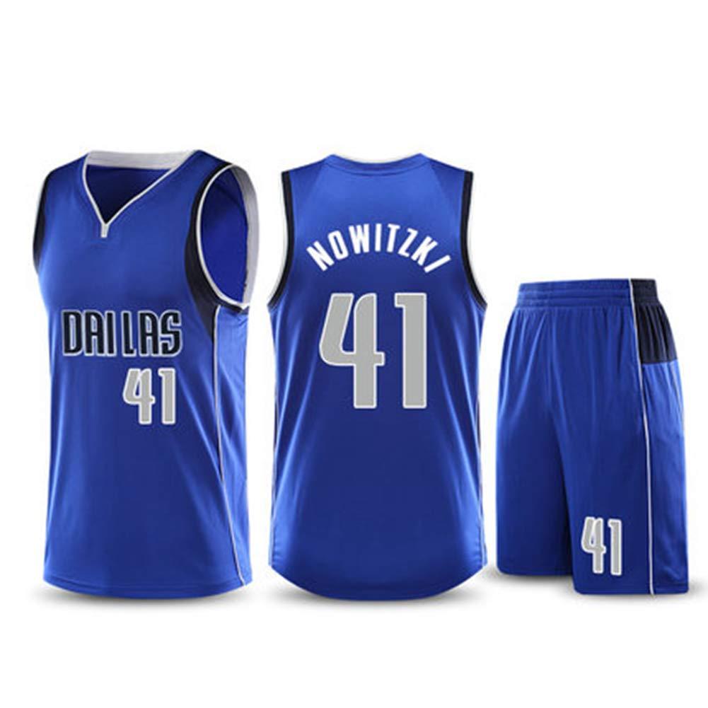 Top + Pantaloncini NBALL-HU Dallas Mavericks # 41 Nowitzki all-Star Jersey Set da Pallacanestro Tuta da Allenamento Senza Maniche Traspirante ,Blu,2XL:170~175cm