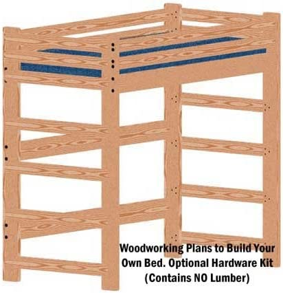 Loft or Bunk Bed DIY Woodworking Plan Extra-Tall Extra-Long Twin