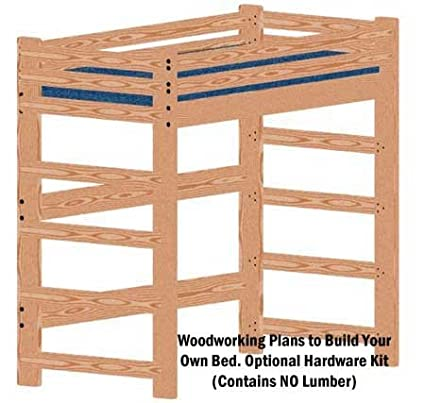 Loft Or Bunk Bed Diy Woodworking Plan Tall Extra Long Twin And Hardware Kit For Loft Or Bunk Wood Not Included