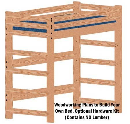 Loft or Bunk Bed DIY Woodworking Plan Tall Extra Long Twin and Hardware Kit for Loft or Bunk (Wood NOT Included)
