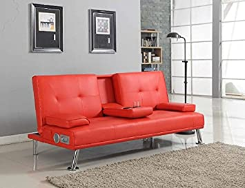 Awesome Bluetooth Cinema Sofa Bed With Drink Cup Holder Table Red Faux Leather Download Free Architecture Designs Philgrimeyleaguecom