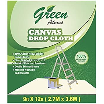 green atmos 1 pack 9 x 12 100 cotton canvas drop cloth