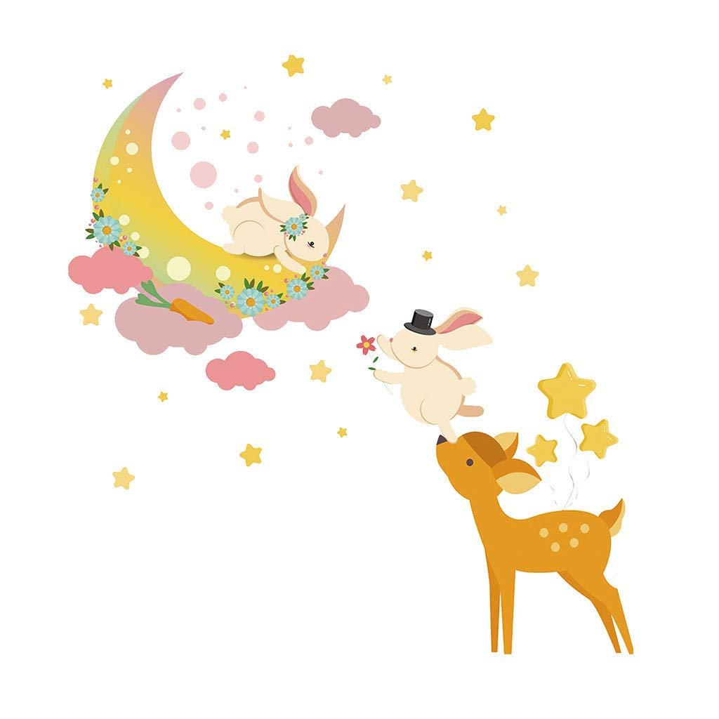 Cyhulu Creative Removable Window Wall Decal, Fashion Kawaii Rabbit Deer Moon 3D Mural Stickers for Baby Bedroom Living Room Home Office Wall Art DIY Decoration