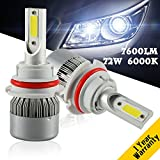 Image of YUMSEEN 72w 9007 Car LED Headlight Kit 7200lm COB Chip Auto LED Headlight Bulbs Conversion Kit 12V/24V Replace for Halogen or HID Bulbs 1 year warranty (9007)