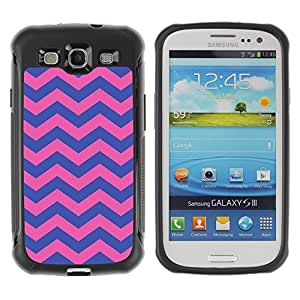 WAWU Funda Carcasa Bumper con Absorci??e Impactos y Anti-Ara??s Espalda Slim Rugged Armor -- chevron purple pink girly pattern -- Samsung Galaxy S3 I9300