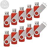 RAOYI 50 Pack 8G USB Flash Drive USB 2.0 8GB Flash Drive Memory Stick Fold Storage Thumb Stick Pen New Swivel Design Red