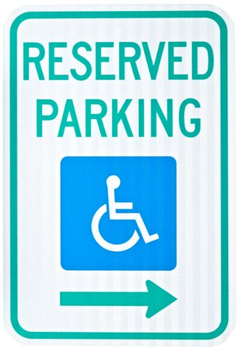 (ZING 2284 Eco Parking Sign, Reserved Handicap Parking with Arrow, 18Hx12W, Engineer Grade Prismatic, Recycled Aluminum )
