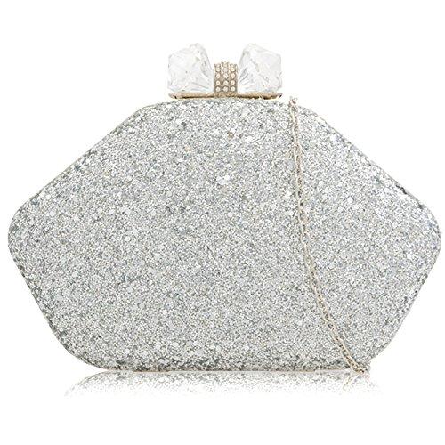 Silver pour London Glitter Pochette femme Xardi xAvBZqww