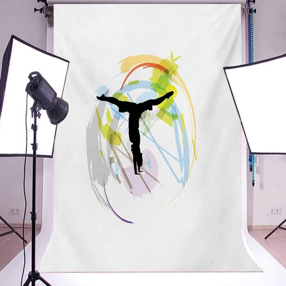 Youth 10x12 FT Photography Backdrop Illustration with an Exercising Figure on Pastel Brushstrokes Aerobics Workout Background for Baby Birthday Party Wedding Vinyl Studio Props Photography Multicolo