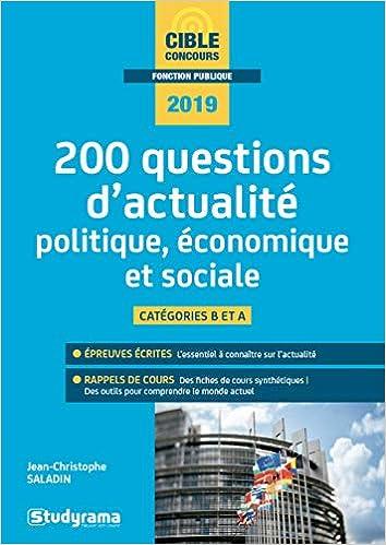 200 questions dactualité politique, économique et sociale : Catégorie A et B Concours fonction publique: Amazon.es: Laurence Brunel, Jean-Christophe ...