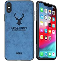 Kenke Ultra-Thin Retro Deer Pattern Leather Case for Apple iPhone Xs (2018,Blue)