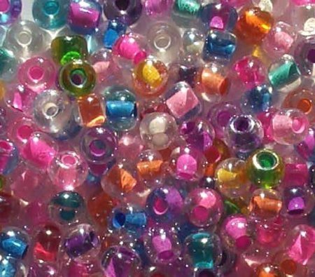 25g 2/0 Czech Mixed Color-lined Glass Seed Beads