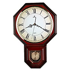 Traditional Schoolhouse Pendulum Wall Clock Chimes Hourly with Westminster Melody Made in Taiwan, 4AA Batteries Included (PP0258-1R Red Mahogany)