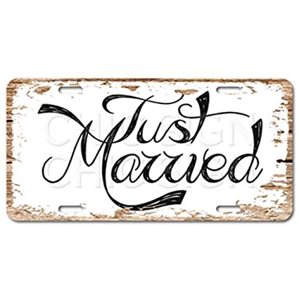 Amazon.com: Chic Sign Just Married Vintage Rustic Car Decor ...