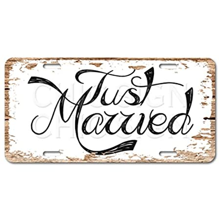 Just Married Chic cartel Vintage de coche rústico Decor ...