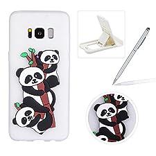 Soft TPU Case for Samsung Galaxy S8,White Flexible Rubber Case for Samsung Galaxy S8,Herzzer Stylish Cute Panda Pattern Shock-Absorbing Scratch Resist Silicone Bumper Back Cover