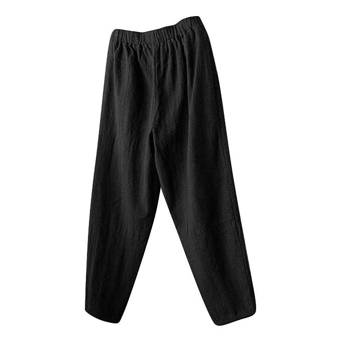 Amazon.com: Pantalones de lino de algodón para hombre, de ...