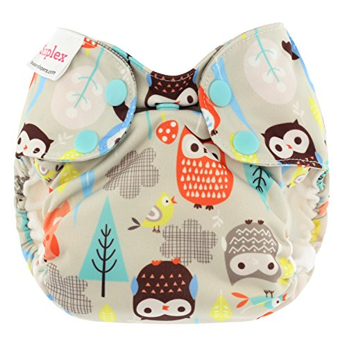 Blueberry Newborn Simplex All in One Cloth Diapers, Made in USA (Owls)
