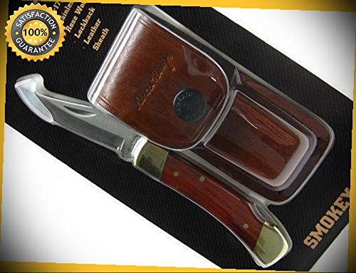 (Uncle Henry Rosewood Smokey Straight Lockback Folder Sharp Knife with Sheath LB5 perfect for outdoor camping hunting)