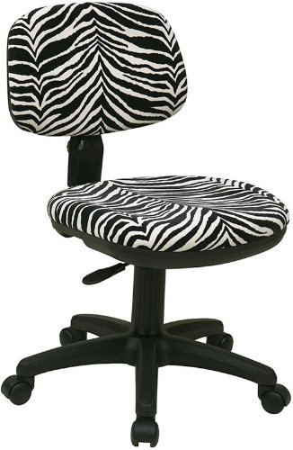 SC117-237 OFFICE STAR WORKSMART ZEBRA ANIMAL PRINT FABRIC ARMLESS DESK CHAIRS