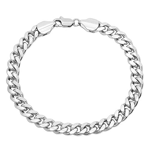 The Bling Factory 7mm Smooth Rhodium Plated Beveled Cuban Curb Link Chain Bracelet, 8